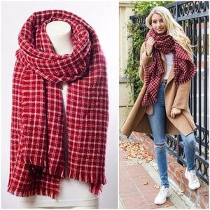 westport // red tattersal plaid blanket scarf